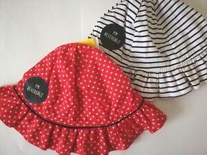 Blue Check 100/% Cotton Made in UK Baby Girls Summer Mop Hat 0-2 years Orange