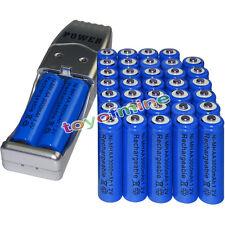 36x AA battery batteries Bulk Rechargeable NI-MH 3000mAh 1.2V Blue + USB Charger