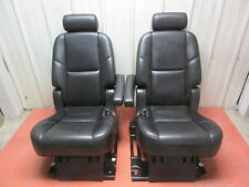 07 08 09 10 11 12 Escalade Tahoe 2nd Row Seat Set Black Leather Captains Chairs