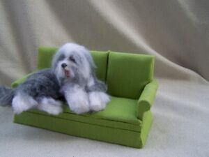Ooak Dollhouse Miniature Bearded Collie Dog lying down by Malga