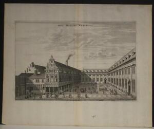AMSTERDAM BURGERWEESHUIS NETHERLANDS 1663 DAPPER ANTIQUE COPPER ENGRAVED VIEW