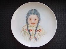 Original Acrylic Painting Native American INDIAN GIRL Plate Folk Art Primitive