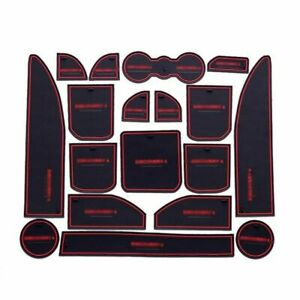 Non-slip Interior Door Cup Holder Rubber Mats Red Line For Land rover discovery