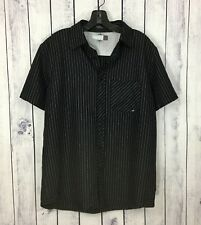 Coastal Mens Button Down Shirt Size M Rockabilly Pinstriped Pocket Black A7-3