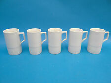 Mid-Century Modern Tall White Porcelain Unbranded Ribbed Bottom Coffee Cups