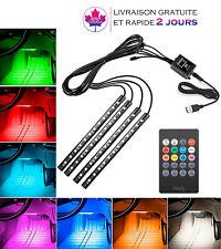 4 Bande lumineuse Auto LED de voiture  lumières 48 LED multicolore+ telecommande