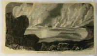 1883 magazine engraving ~ VOLCANO OF KILAUEA AT NIGHT