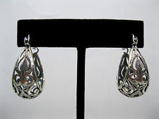MINT SILPADA 925 Sterling Silver FILIGREE OXIDIZED & ETCHED HOOP EARRINGS, P1844