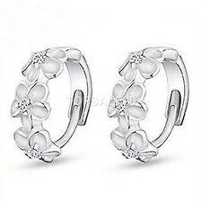 925 Sterling Silver Plated Ear Stud Hoop Earrings