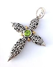 Sterling Silver 925 Filigree Cross w/ Peridot Pendant Accented with 14k Gold
