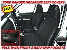 FORD RANGER  PX2  FULL-BACK FRONT & REAR NEOPRENE SEAT COVERS - MAP POCKETS X 2