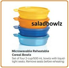 TUPPERWARE MICROWAVE REHEATABLE CEREAL BOWLS w/Seals! Set of 4 BPA Free for 2020