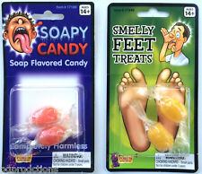 2 Pack Smelly Feet + Soapy Candy Flavored Bad Tasting Prank Joke Gag Hard Food