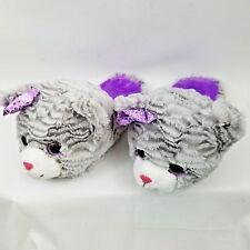 Women's Slippers Size XL 4-5 Warm Gray Bear Plush Shoes Indoors Animal Slip-On