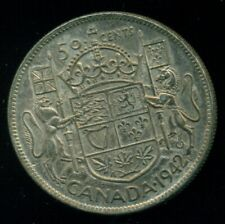 1942 Narrow Date King George VI, Canada Silver 50 Cent Piece,  F42