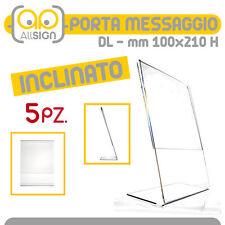 5x PORTA MESSAGGIO INCLINATO DL 100x210 espositori avvisi uffici pubblicità bar