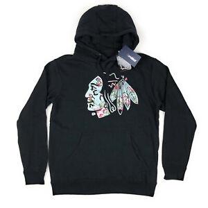 Chicago Blackhawks NHL Fanatics Womens Medium Floral Pullover Hoodie Sweatshirt