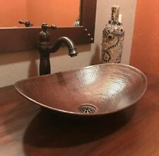 """18"""" Oval Copper Vessel Bathroom Sink with Daisy Drain and ORB Faucet"""