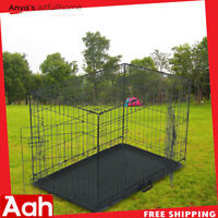 "36"" Pet Kennel Cat Dog Folding Steel Crate Animal Playpen Wire Metal"