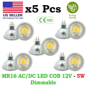 12V MR16 5W Glass LED COB Light Bulb IP65 Dimmable Low Voltage Energy Saving