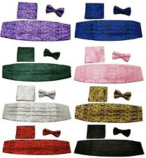 3 Pcs Satin Paisley Matching Cummerbund + Bow Tie + Pocket Square Set