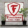"Firestone Tires Tubes Garage Shop Mancave Metal Sign Repro 12x12"" 60368"