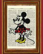 Classic Minnie Mouse Dictionary Art Print Poster Picture Vintage Mickey Disney