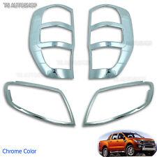 For Ford Ranger T6 Wildtrak 12 2013 2014 Chrome Head Rear Tail Lamp Light Cover
