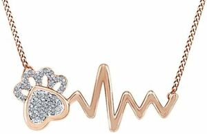 Simulated Birthstone Paw Print Heartbeat Pendant Necklace In 14K Rose Gold Over
