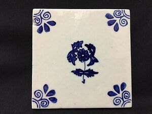 "Beautiful 5.75"" x 5.75""  Mexican blue Flower Tile Art"