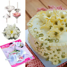 Lily Flower Fondant Icing Piping Nozzle Mold Set Cake Stand Petal Baking Tools