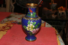 Superb Chinese Japanese Cloisonne Vase-Blue Color W/Assorted Flowers-Lqqk