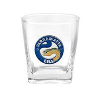 NRL Drink Glass Set - Metal Badged Logo - Parramatta Eels - Set Of Two