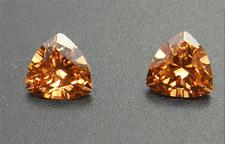 14.28CT CHAMPAGNE SAPPHIRE UNHEATED DIAMOND TRIANGLE CUT AAAA+ LOOSE GEM( 2PCS)