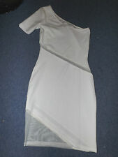 BNWT UK 8 EUR 36 ASOS TALL WHITE OFF SHOULDER ONE SHORT SLEEVE BODYCON DRESS