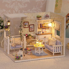 Doll House Furniture Kids Children DIY Miniature Dust Cover 3D Wooden Dollhouse