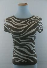 100% Silk Talbots Petites Knit Top Small Brown and White Animal Print