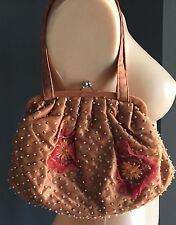 Retro Vintage Look Peach Sequin & Bead with Floral detail Evening Bag