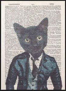 Black Cat Print Vintage Dictionary Page Wall Art Kitten Funny Animal In Clothes