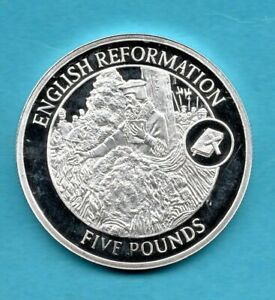 2009 GIBRALTAR STERLING SILVER £5 CROWN COIN. ENGLISH REFORMATION FIVE POUND.