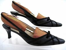 TALBOTS Black  Leather Grosgrain Ribbon Bow Slingbacks Heels Size 8 AA