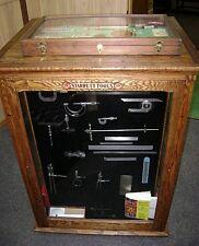 Antique Original Oak Starrett Tools Display Cabinet WITH STARRETT TOOLS!