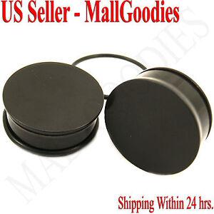 "0945 Black Acrylic Single Flare Ear Plugs 1-3/16"" Inch 30mm 1 Pair Big Gauges"