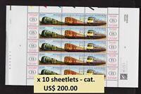 Belgium - WHOLESALE lot - 2001 Trains sheetlet x 10, FACE 63 euros