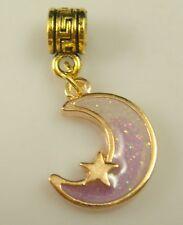 18K gilded European moon Charm Bead Fit sterling 925 Necklace Bracelet w24gf