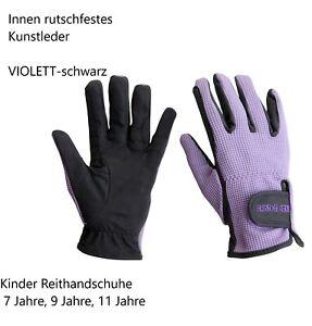 7 9 11 Jahre 122 - 146 Kinder Reithandschuhe Kunstleder schwarz violett lila % A
