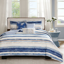 BEACH SEA SHELLS NAUTICAL TROPICAL COAST OCEAN BLUE WHITE QUILT SET KING SIZE