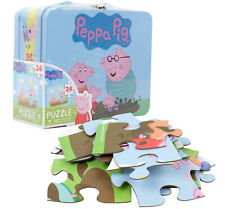 """Peppa Pig Puzzle with Tin Case New Lunchbox Type Box Handle 15"""" x 12.5"""" 24 pcs"""