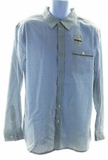 Lee Shirt Mens Button Front Long Sleeve White with Blue Geometric Casual