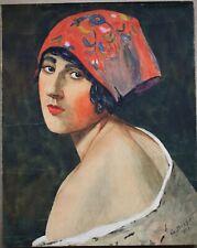 G. Bissot, Début XXe, Portrait, Jeune femme, 1921, Aquarelle dédicacée au dos